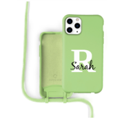 Coverzs Silicone case met koord iPhone 11 Pro Max (lichtgroen) - Initial + Name