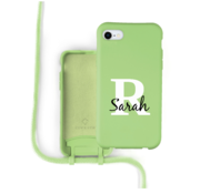 Coverzs Silicone case met koord iPhone 7 / 8 / SE2020 (lichtgroen)  - Initial + Name