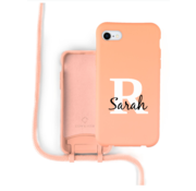 Coverzs Silicone case met koord iPhone 7/8/SE2020 (oranje) - Initial + name -