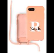 Coverzs Silicone case met koord iPhone 7/8 Plus (oranje) - Initial + name