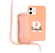 Coverzs Silicone case met koord iPhone 12 / 12 Pro (oranje) - Initial + Name