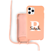 Coverzs Silicone case met koord iPhone 11 Pro Max (oranje) - Initial + Name
