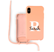Coverzs Silicone case met koord iPhone X / Xs (oranje) - Initial + Name