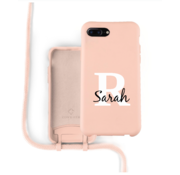 Coverzs Silicone case met koord iPhone 7/8 Plus (roze) - Initial + name