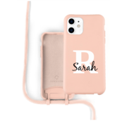 Coverzs Silicone case met koord iPhone 12 / 12 Pro (roze) - Initial + Name