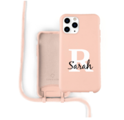 Coverzs Silicone case met koord iPhone 11 Pro Max (roze) - Initial + Name