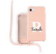 Coverzs Silicone case met koord iPhone 7/8/SE2020 (roze) - Initial + Name