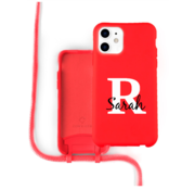 Coverzs Silicone case met koord iPhone 12 / 12 Pro (Rood)   - Initial + Name