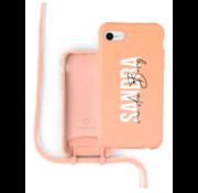 Coverzs Silicone case met koord iPhone 7/8/SE2020 (oranje) - Name + name - Verticaal