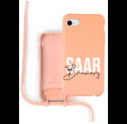Coverzs Silicone case met koord iPhone 7/8/SE2020 (oranje) - Name + name