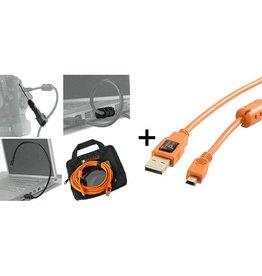 TetherTools Starter Tethering Kit w/ USB 2.0 Mini-B 5 Pin Cable 15' ORG