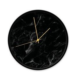 Dutch Sprinkles Klok marmer zw 30 cm frame zwart-wijzer goud