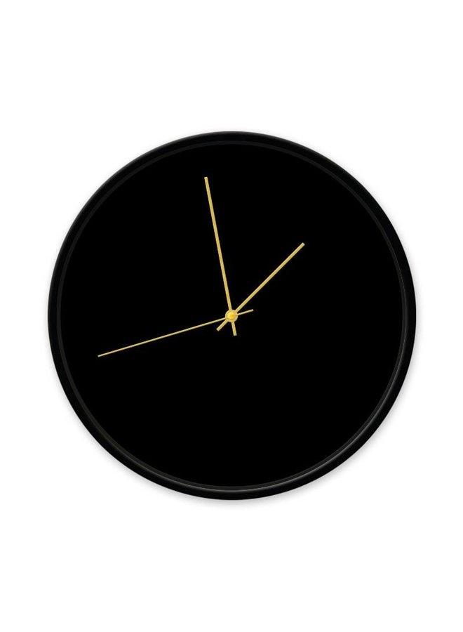 Klok zwart 30 cm frame zwart-wijzer goud