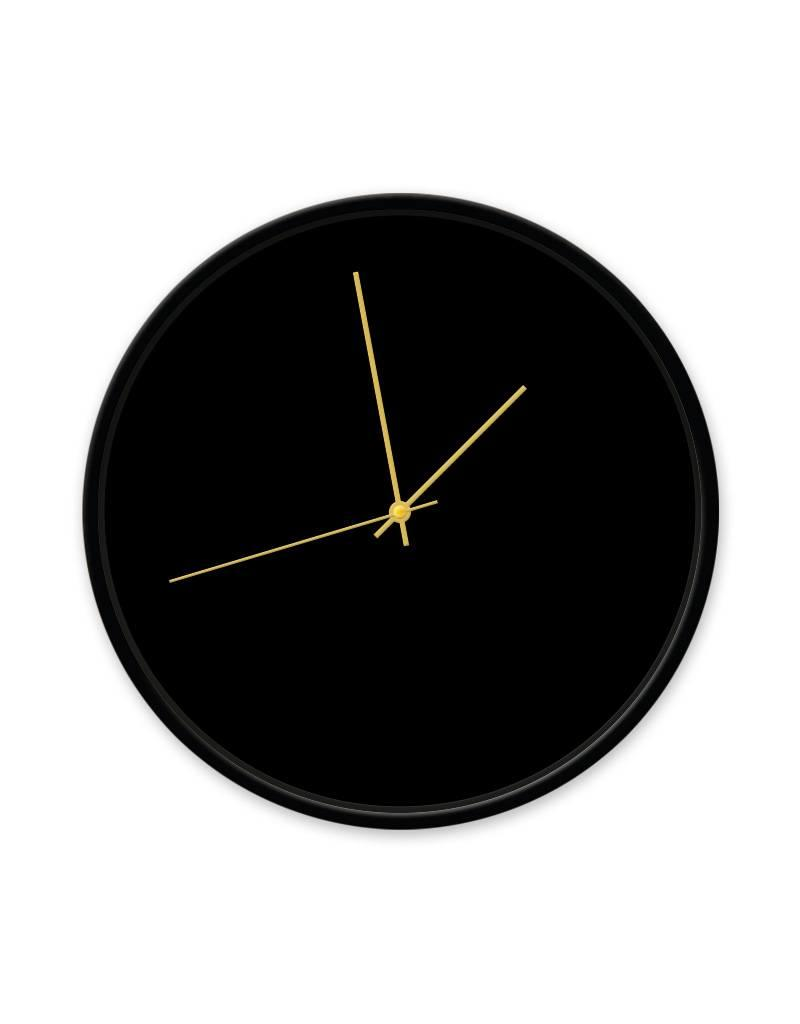 Dutch Sprinkles Klok zwart 30 cm frame zwart-wijzer goud