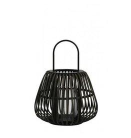 Windlicht 29x37 cm bamboe zwart met hendel