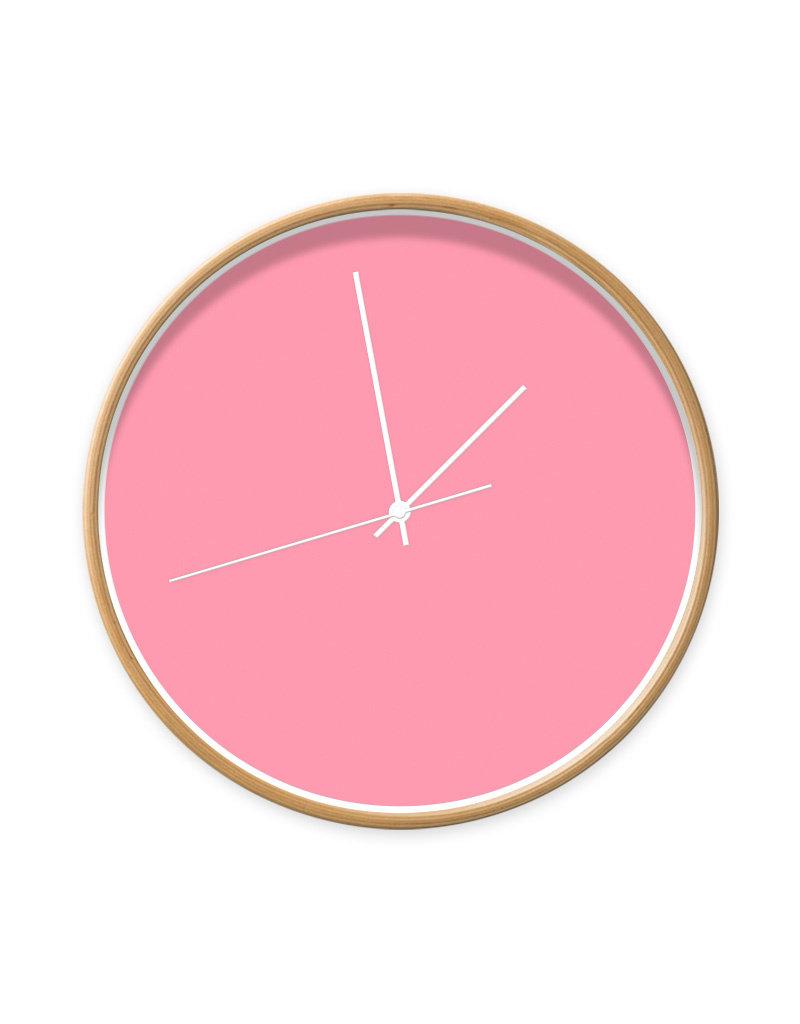Dutch Sprinkles Klok roze - 40 cm - houtlook rand - witte wijzers