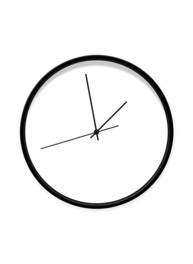 Klok wit 30 cm frame zwart-wijzer zwart