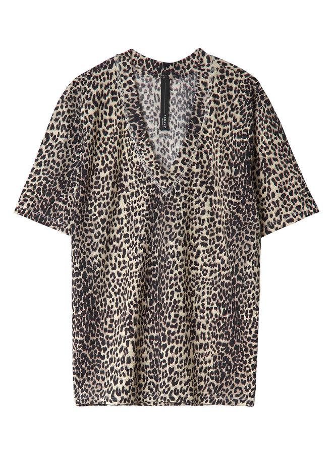 20-753-0201Reversible v-neck tee leopard - winter wite
