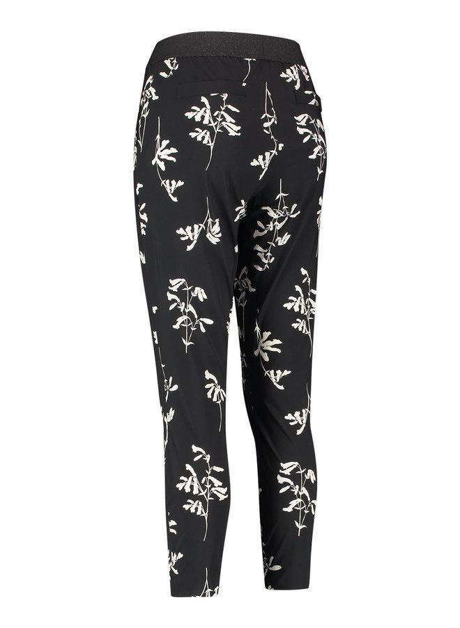 Floria flower trousers - black/ecru