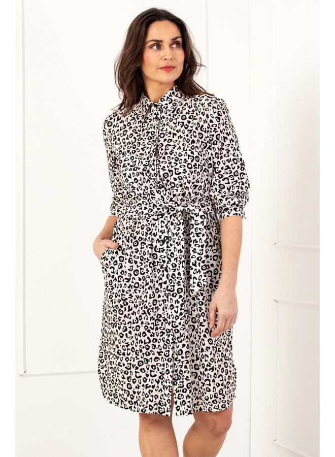 Loopy leopard blouse - ecru/black