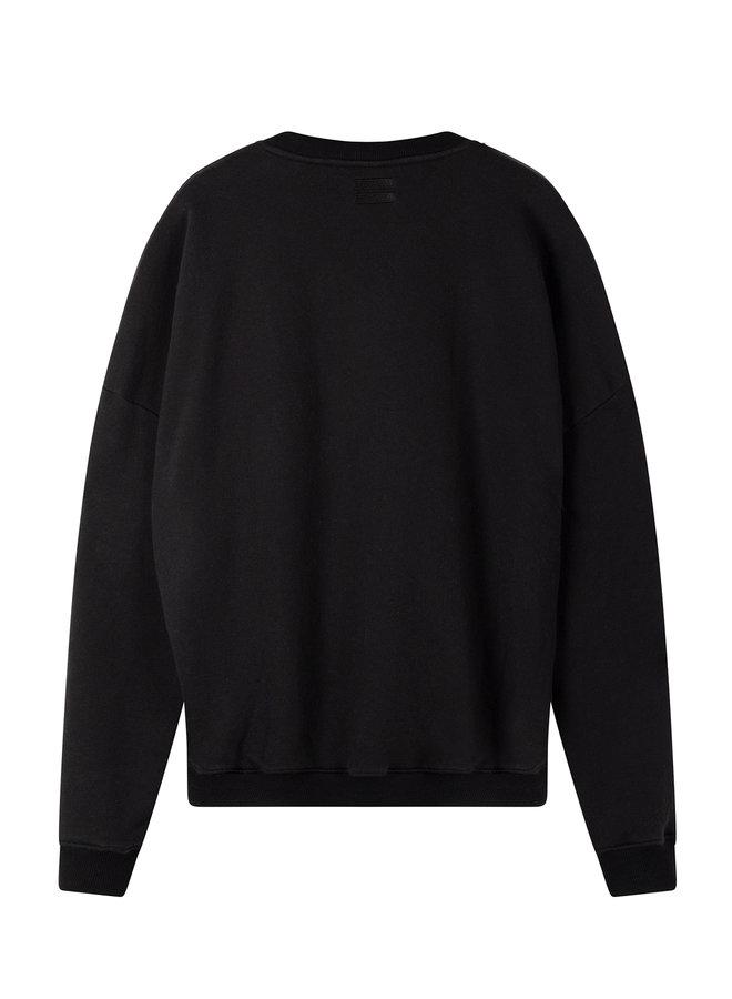 20-810-0203 Foil print sweater - black