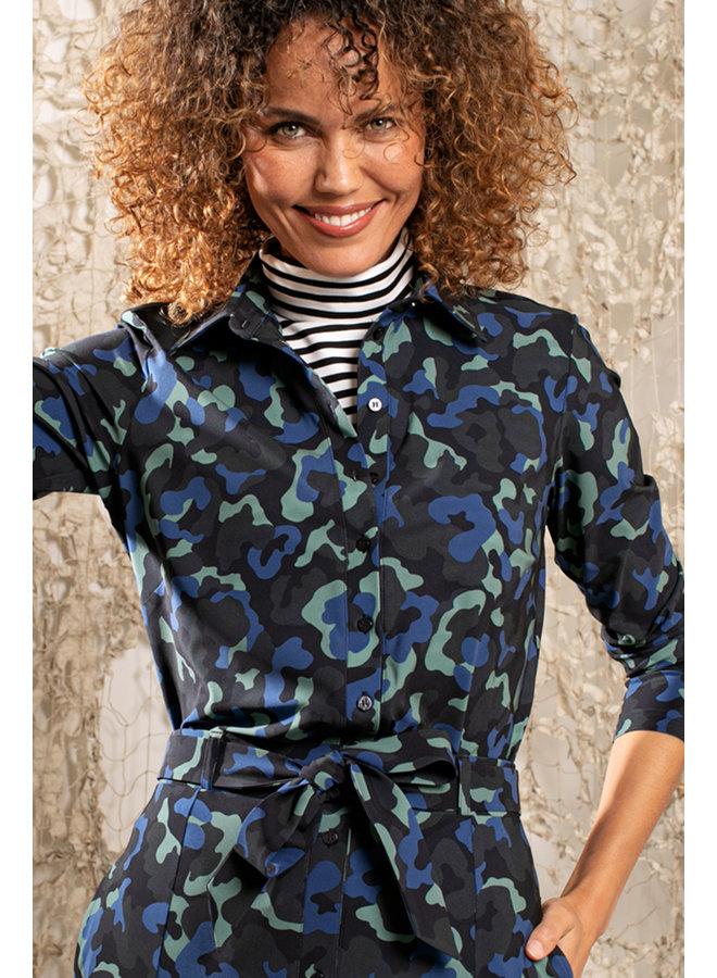 Poppy camo shirt - darkblue/meadowgreen