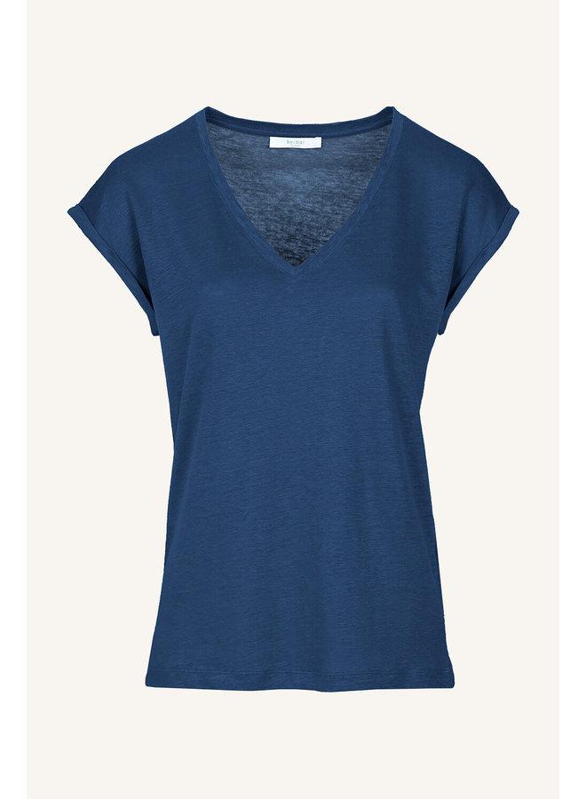 Mila linen top - indigo blue