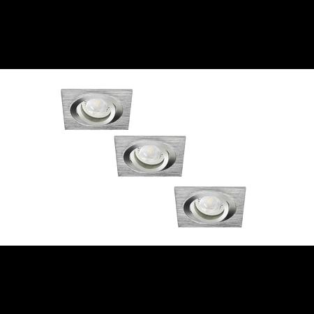 Philips LED Inbouwspot Bastiaan - Set van 3 stuks - 4 watt - Geborsteld RVS