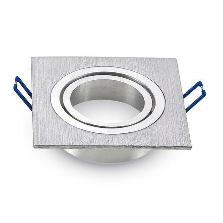Philips Set van 3 stuks 4 Watt Dimbare Philips LED Inbouwspot Bastiaan  | Zilver RVS kantelbaar vierkant