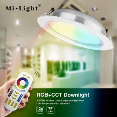 Mi.Light 6  watt RGB+CCT Dimbare kleuren inbouwspot Stanley     Wit rond