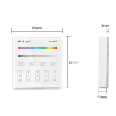Mi.Light MI-LIGHT Wandbediening - 4 GROEPEN - RF-RGB +CCT