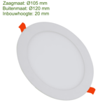 Blinq88 LED Downlight SLIMLine - Zaagmaat Ø105 - 6 Watt