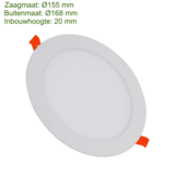 Blinq88 LED Downlight SLIMLine - Zaagmaat Ø155 - 12 Watt