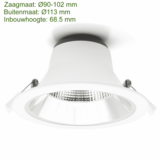 Blinq88 LED Downlight Reflector  -  Tri Color - 10 Watt -   Zaagmaat Ø90-102MM