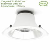 Blinq88 LED Downlight Reflector  -  Tri Color - 28 Watt - Zaagmaat Ø195-210MM