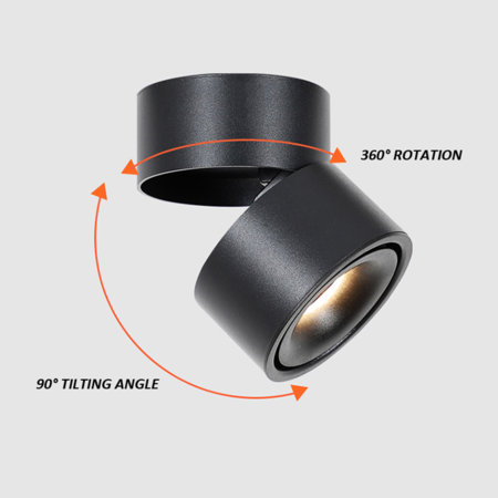 Blinq88 LED Opbouwspot rond  zwart |  Dim to Warm dimbaar