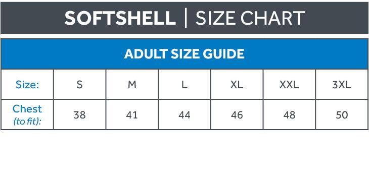 Softshell Size Chart