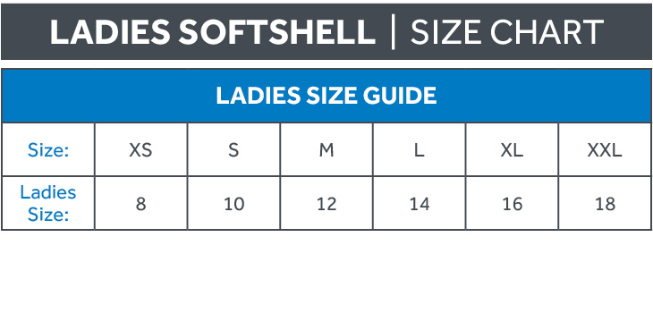 Ladies Softshell Size Chart