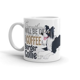 Dogs Make My Day DG mok BC zwart-wit and coffee