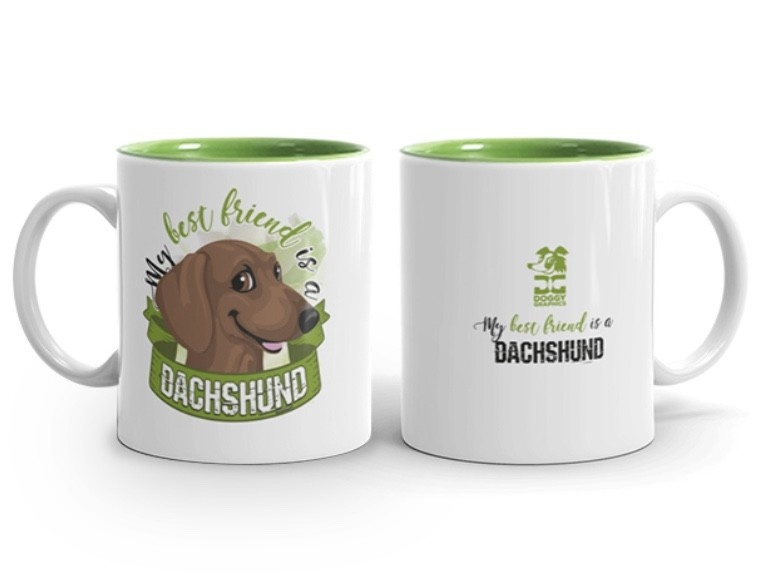 Doggygraphics DG mok best friend Dachshund korthaar rood