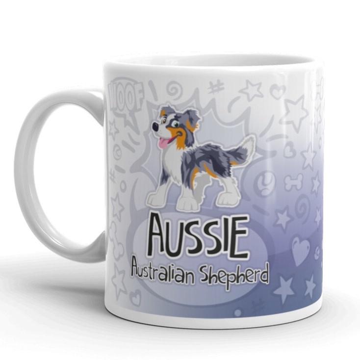 Doggygraphics DG mok cartoon Aussie bleu merle tri