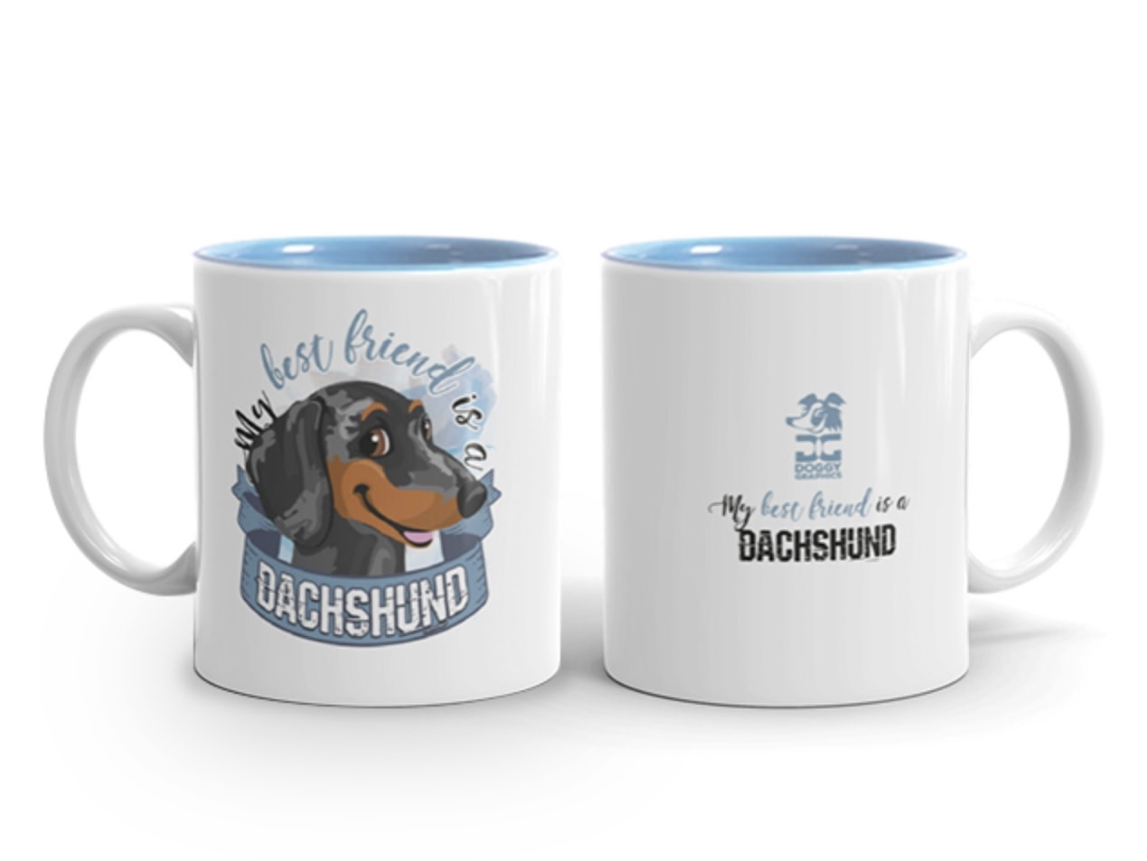 Doggygraphics DG mok best friend Dachshund korthaar merle
