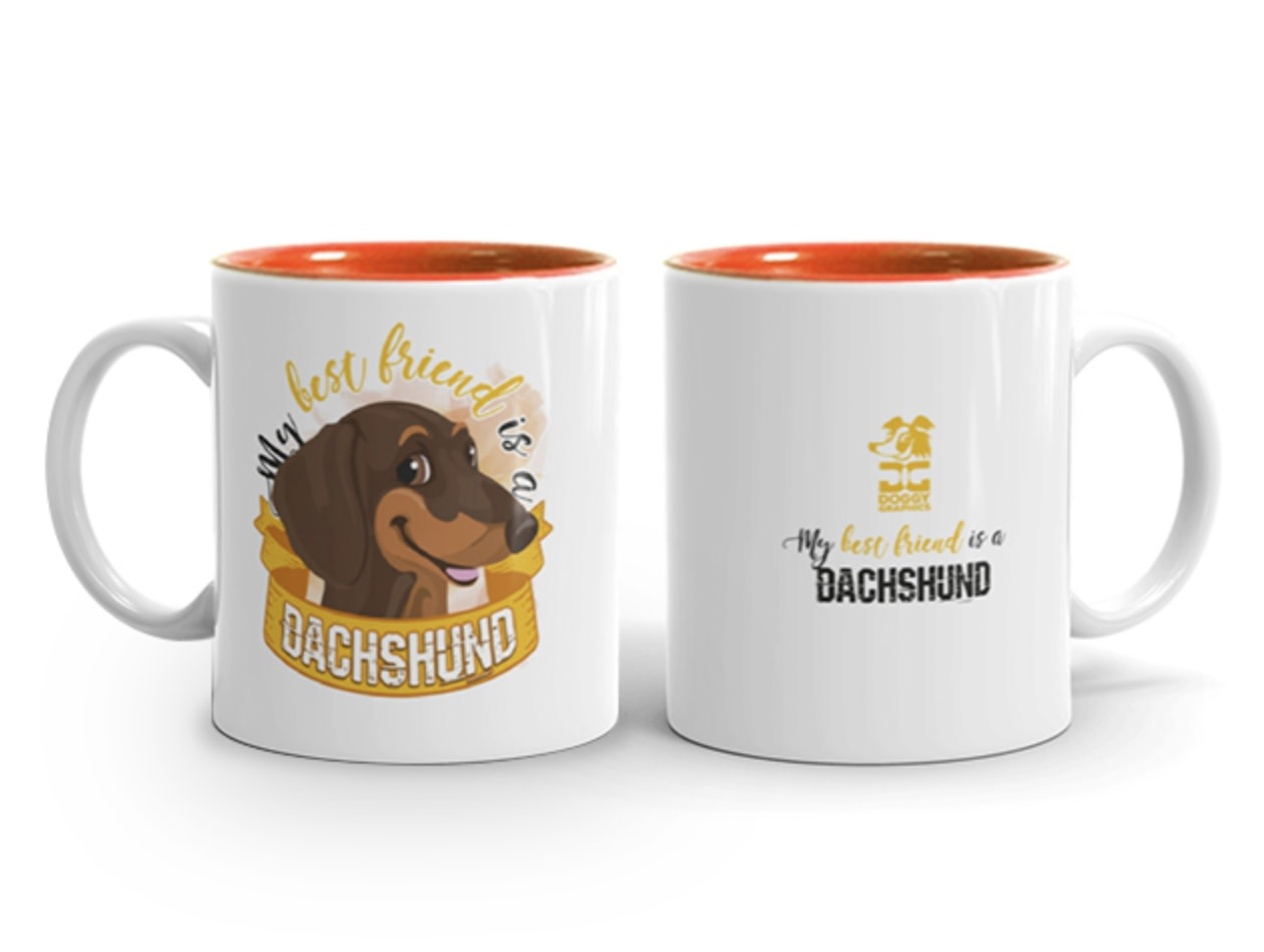 Doggygraphics DG mok best friend Dachshund korthaar rood tan