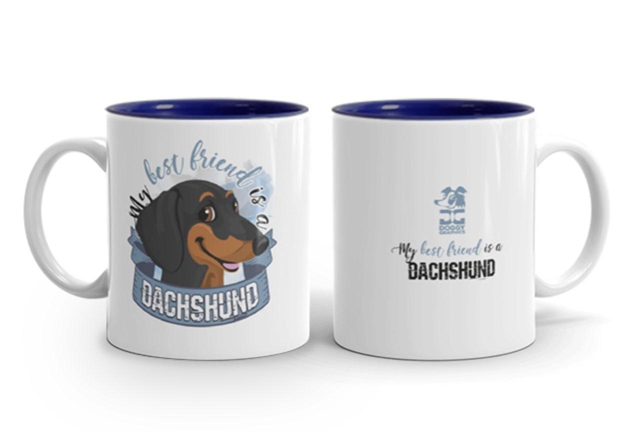 Doggygraphics DG mok best friend Dachshund zwart tan