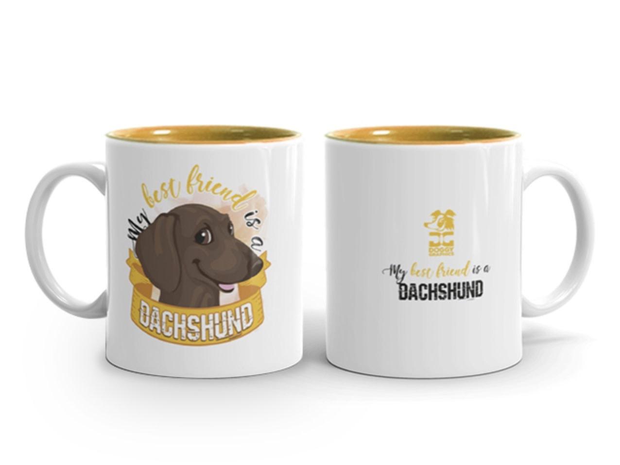 Doggygraphics DG mok best friend Dachshund korthaar bruin