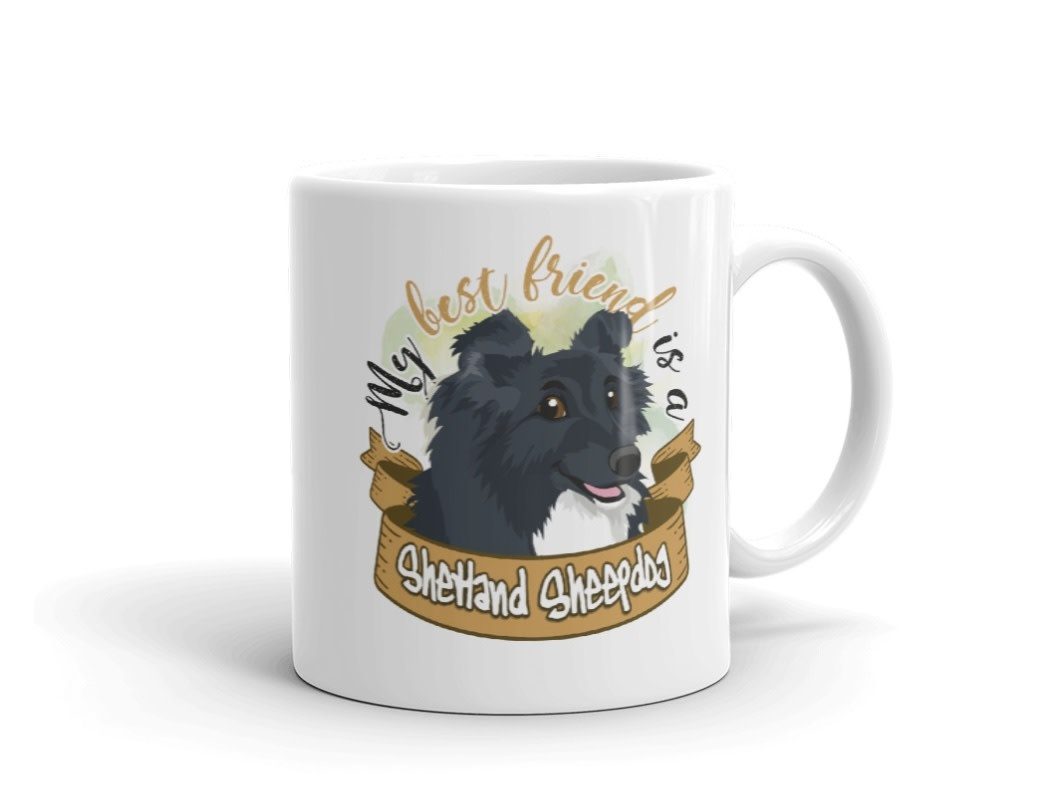 Doggygraphics DG mok best friend Shetland Sheepdag black bi