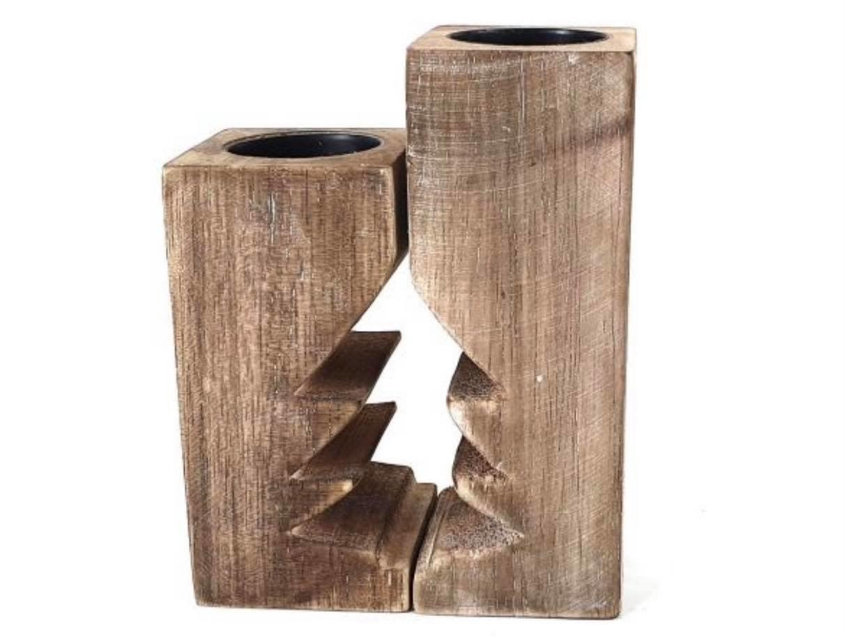 Woodart Woodart kaarsenhouder kerstboom 15 cm