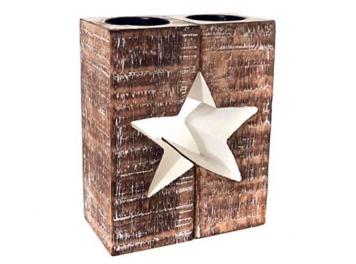 Woodart Woodart kaarsenhouder ster 15x12,5 cm