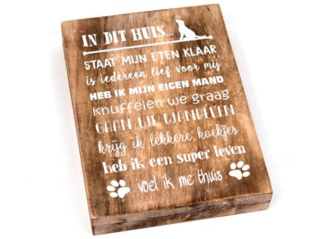 """Woodart Woodart tekstblok """"In dit huis"""" 25x18 cm"""