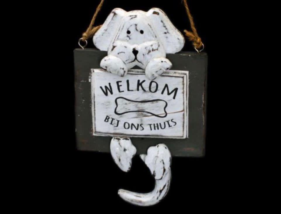 "Woodart Woodart bord hond hangend ""welkom"" 20x12 cm"